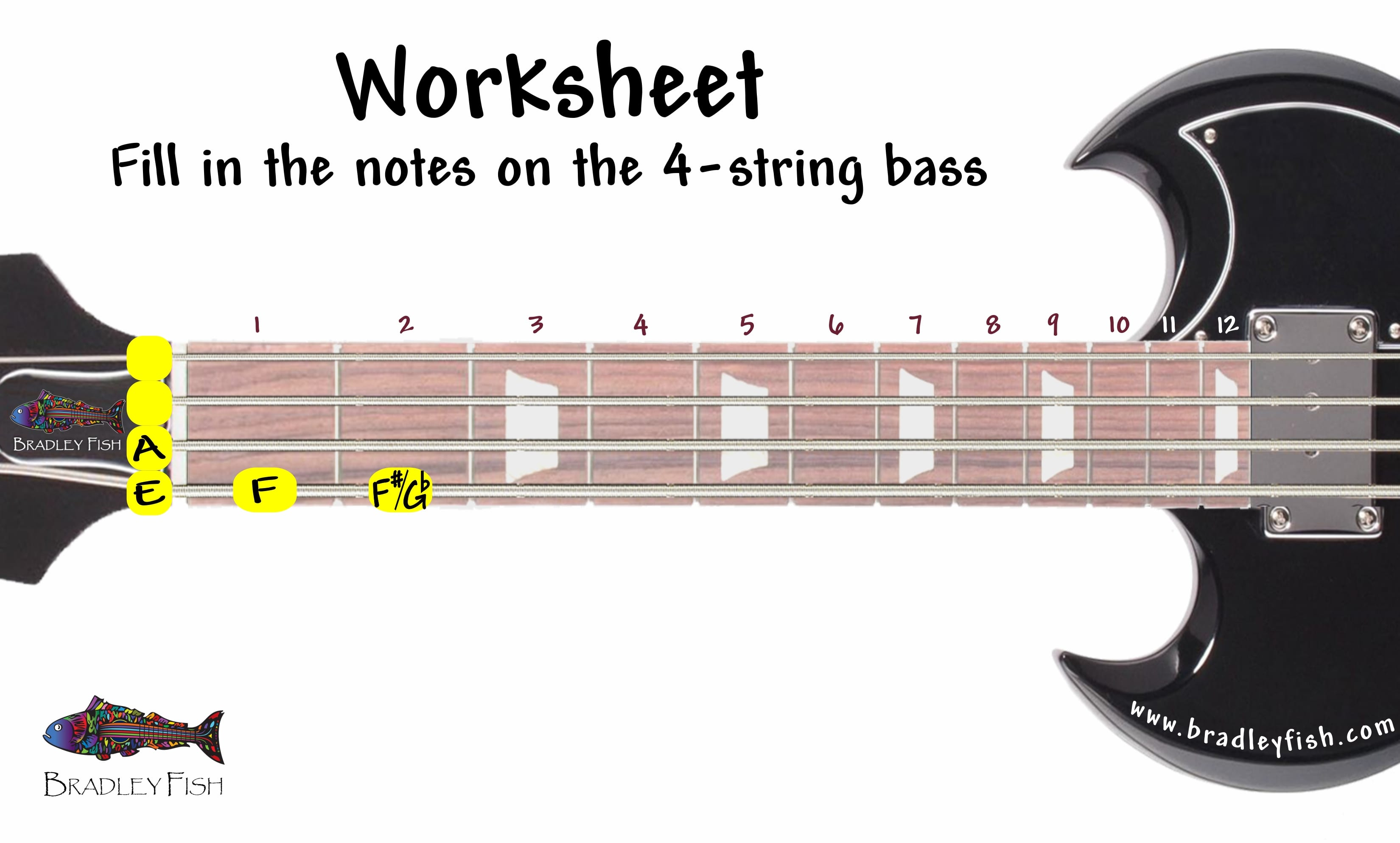 The Notes On The 4 String Bass Worksheet Bradley Fish