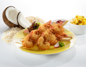 Coconut Coated Prawn Skewers