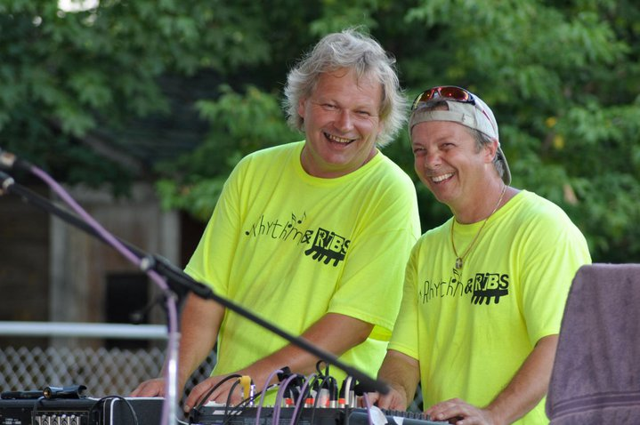 Brad Poulos and Jerry Staples doing sound at Erin Ribfest 2010