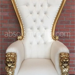 Throne Chairs For Rent Dining Nz Baby Shower Chair Rental Nyc Absolom Roche Lion Gold White