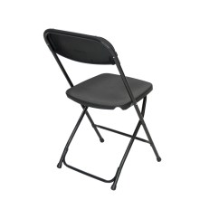 Black Padded Folding Chairs Fisher Price Space Saver High Chair Recall Cloth Plastic Premium Rental Style