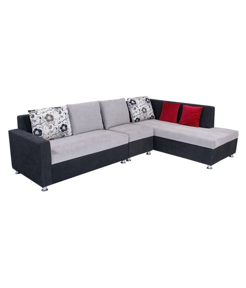 2 seater l shaped sofa bed build your own plans covers online india bharat lifestyle nano shape black grey fabric set 1 d