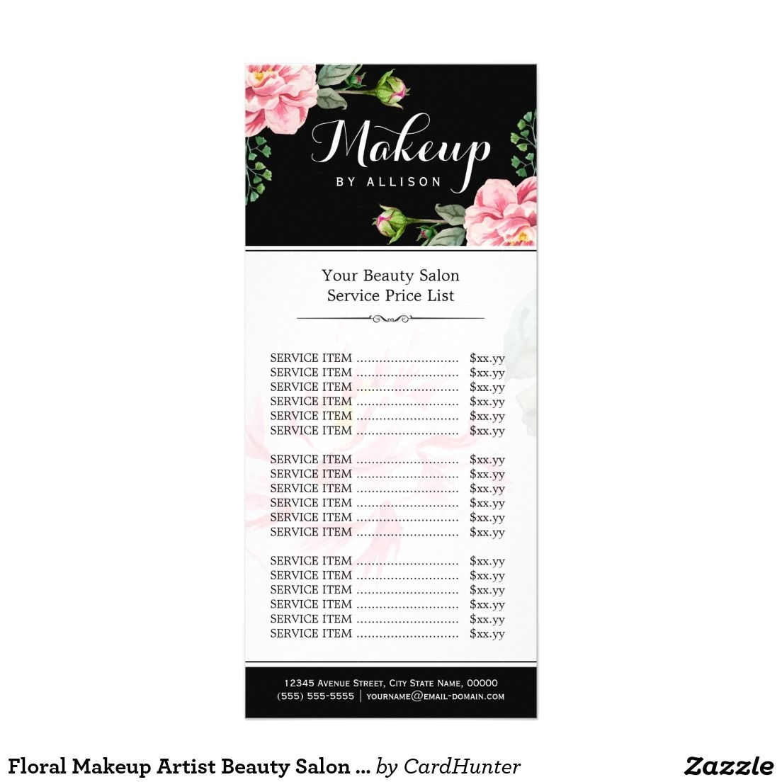 Large Rack Card Size Floral Makeup Artist Beauty Salon Girly Price List  Rack Card