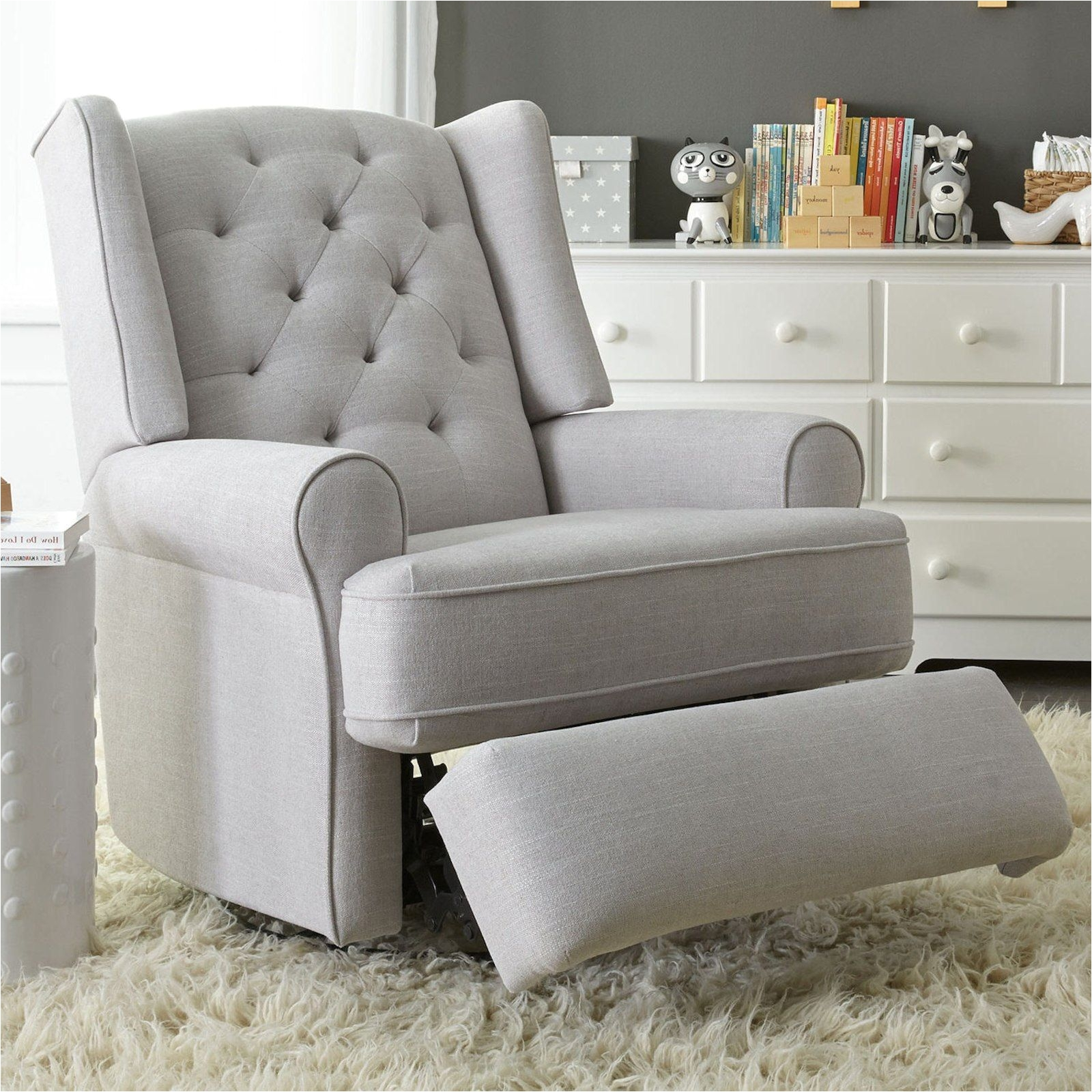 best chairs swivel glider white wrought iron kitchen toys r us uk rocking chair finley recliner gray tweed nursery