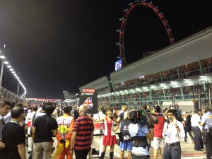 Singapore Grand Prix starting grid with the Singapore Eye in the background.  Photo: © Brad Spurgeon