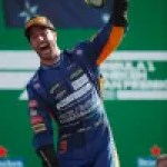 Daniel Ricciardo, of McLaren, celebrates his victory in Monza on the podium.  Photo Credit: McLaren/LAT Images