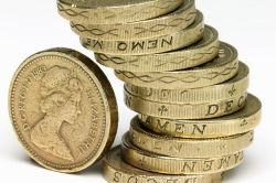 Stack of British one pound coins