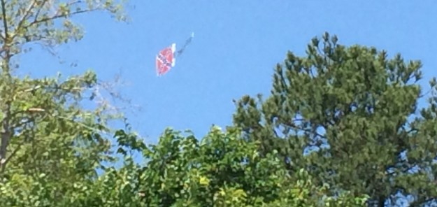 ... and here you can see the flag, but the plane's behind the tree.