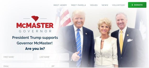 """Speaking of """"intellectually-bankrupt campaign materials,"""" this is the first thing you see at the McMaster for Governor site."""