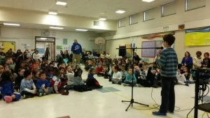 Braeden with a group of students at Carrie Downie Elementary