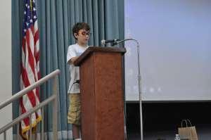 Braeden Mannering speaking to school in Port Charlotte, Florida