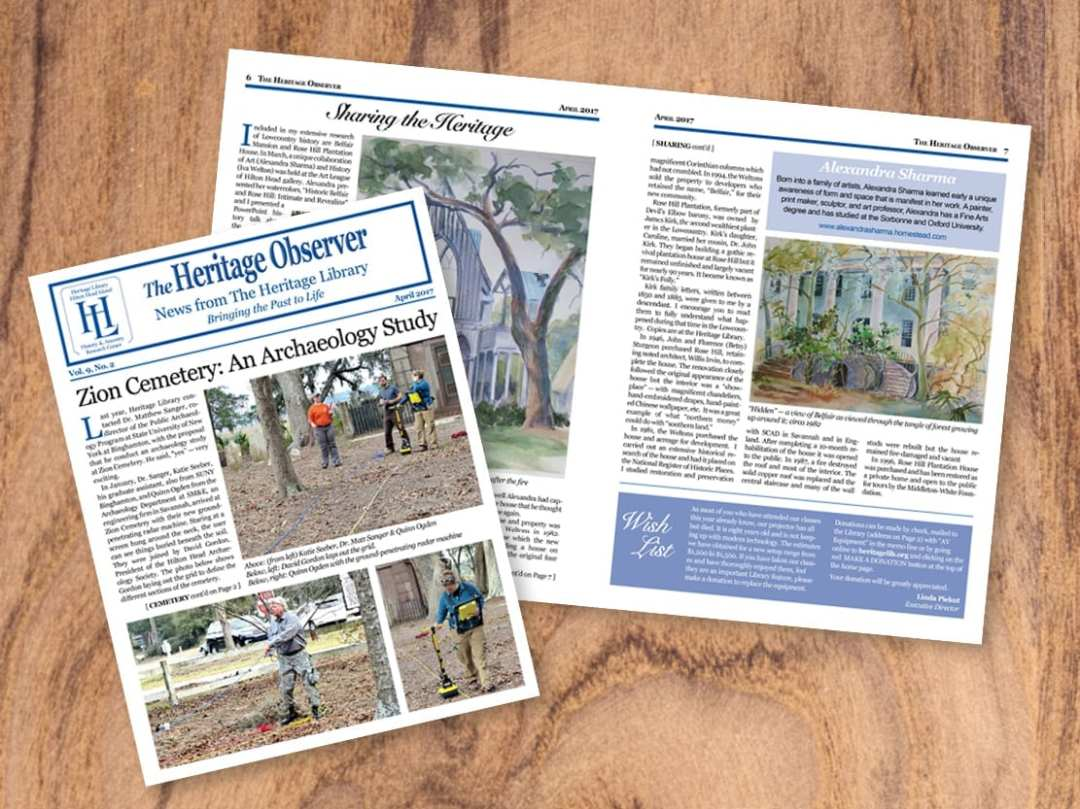 The Heritage Observer, Heritage Library's print newsletter