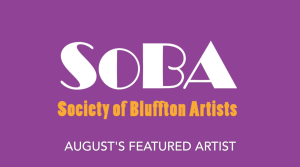 Purple screen of the society of Bluffton Artists logo for August Featured Artist