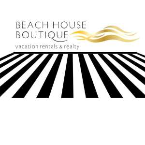 Black and white logo for Beach House Boutique Vacation Rentals and Realty in Bluffton SC