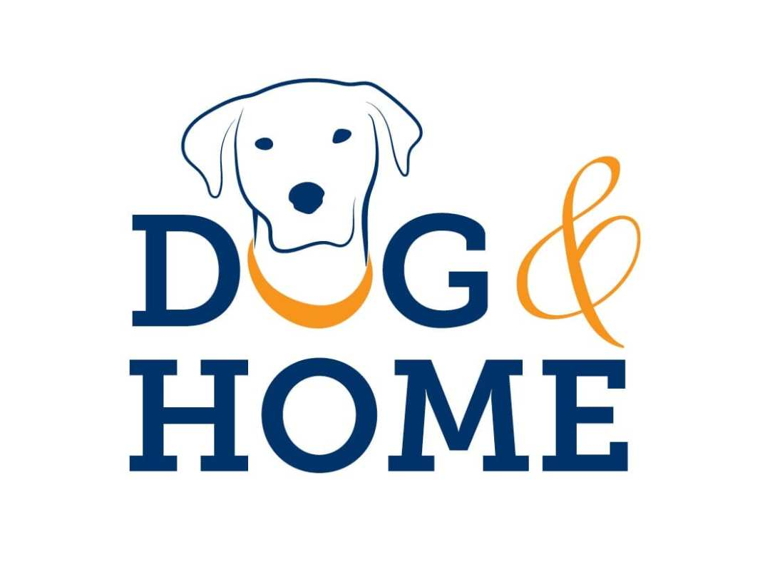 A variation of the logo for Dog and Home with dark blue serif font and a cartoon dog's head