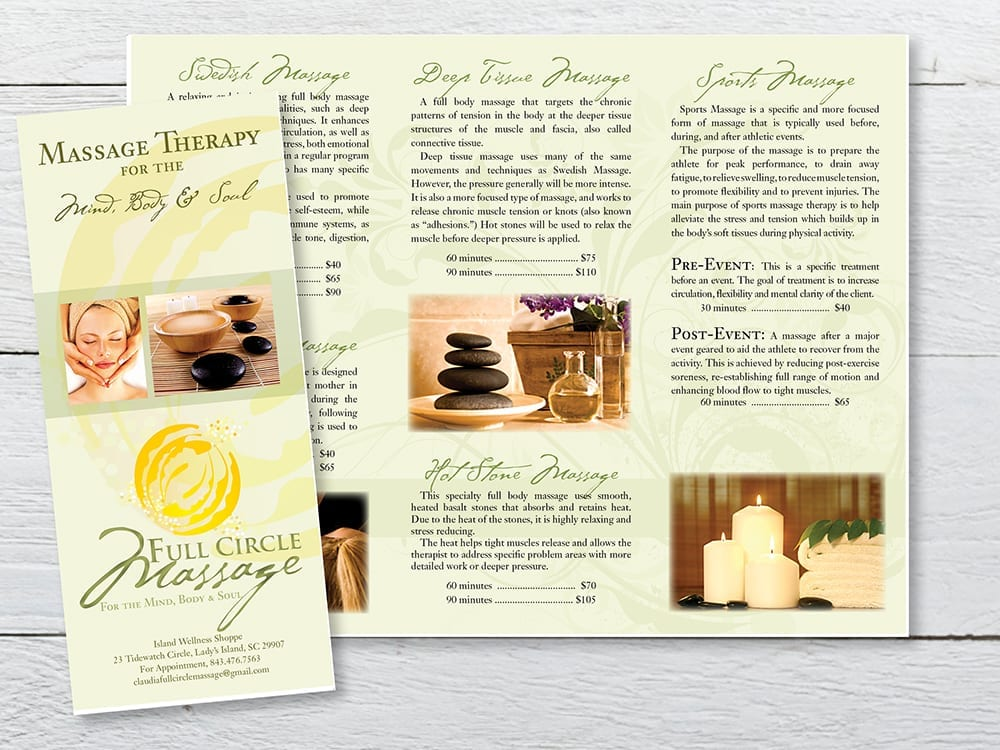 Trifold Brochure for Massage Therapist