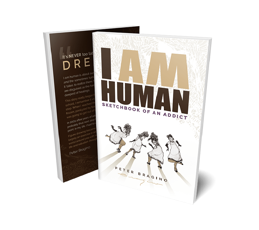 I am human book cover with sketches of dancing girls on it