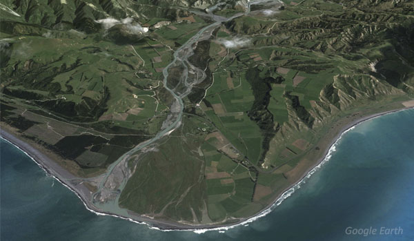 Clarence River mouth. Note the classic braided 'delta' fan shape built from sediment and gravels deposited over time.