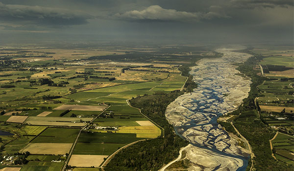 Waimakariri River looking east across the Canterbury Plains