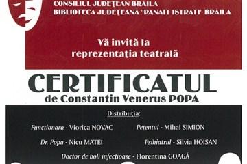 Trupa de teatru Ambiţioşii va invita la spectacolul Certificatul