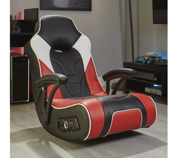 X ROCKER G-Force 2.1 Floor Rocker Gaming Chair - Black. Red & White Fast Delivery | Currysie