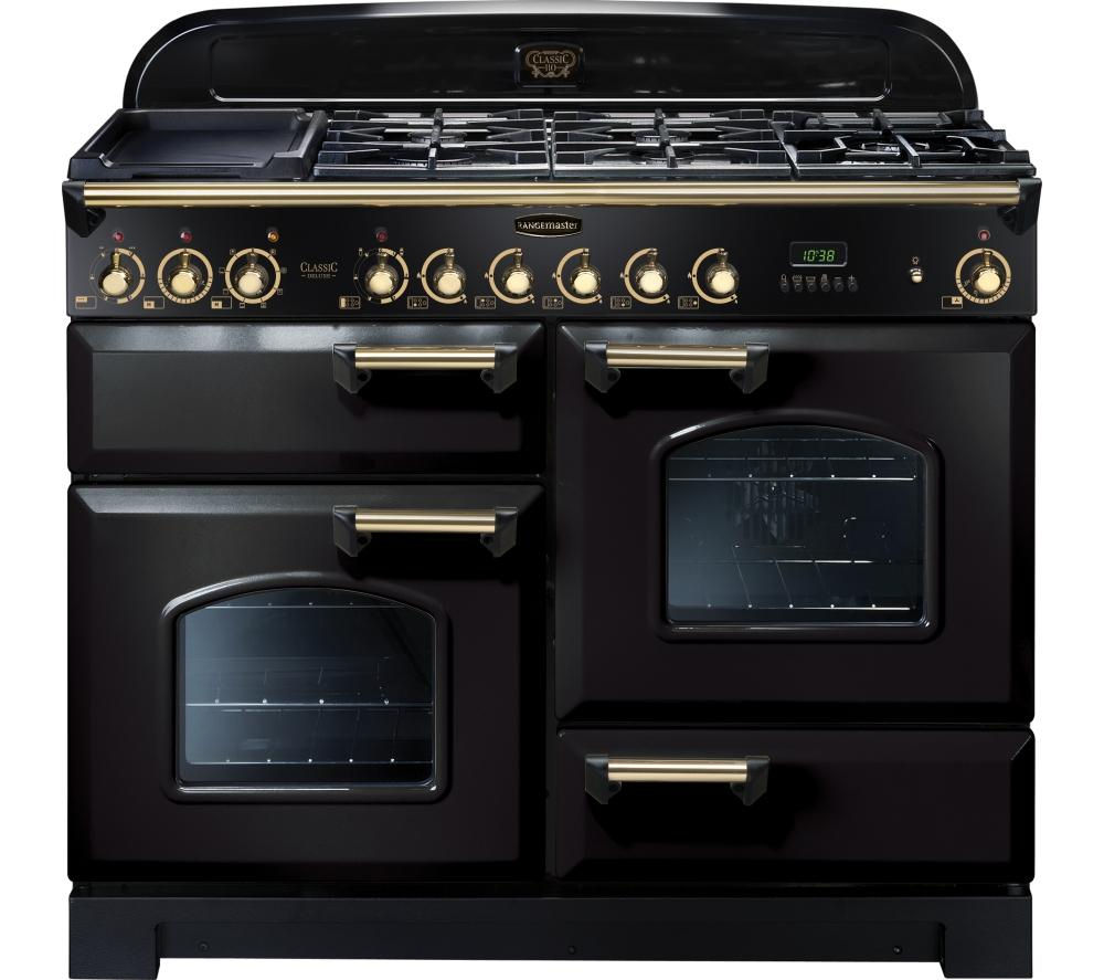 Buy RANGEMASTER Classic Deluxe 110 Dual Fuel Range Cooker Black Amp Brass Free Delivery Currys
