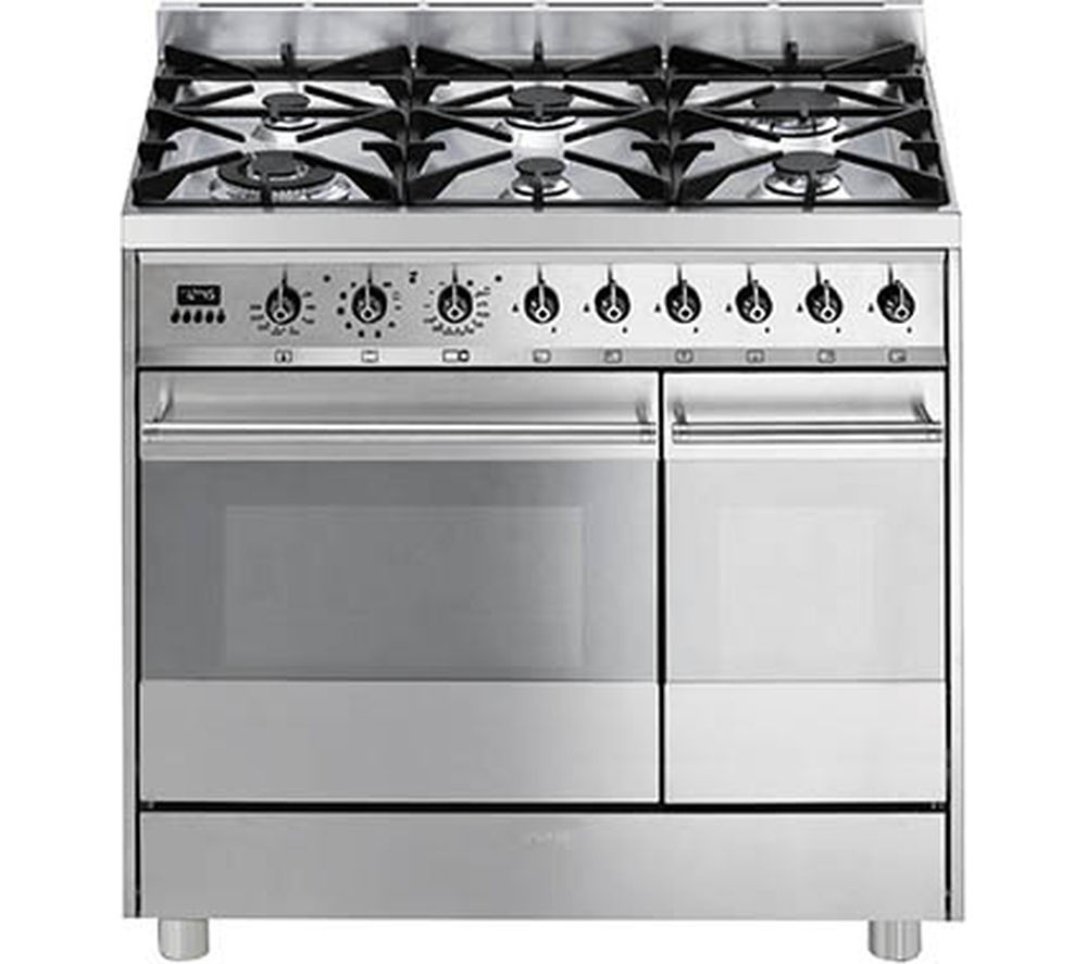 Buy SMEG C92GPX8 90 cm Dual Fuel Range Cooker  Stainless Steel  Free Delivery  Currys
