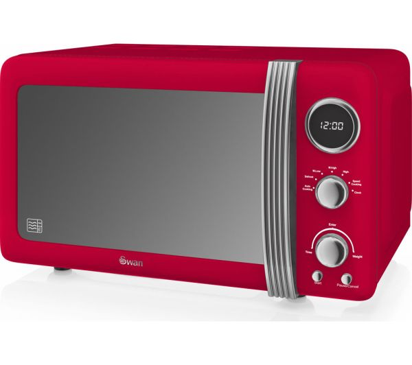 Swan Retro Digital Sm22030rn Solo Microwave - Red Free Delivery Currys