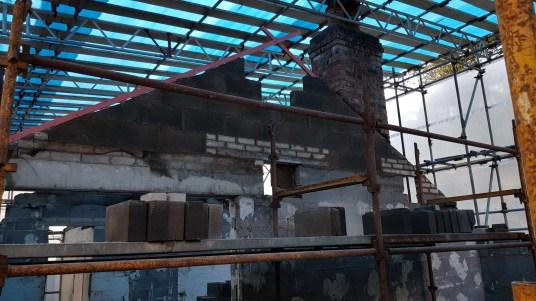 interior gables being rebuilt