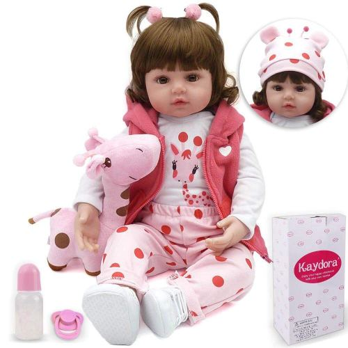 Kaydora Reborn Baby Doll Girl, 16-inch Soft Weighted Body, Cute Lifelike Handmade Silicone Doll