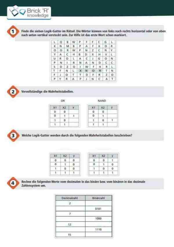 Brick'R'knowledge Übungsheft Aufgabenteil Logik 10er Pack