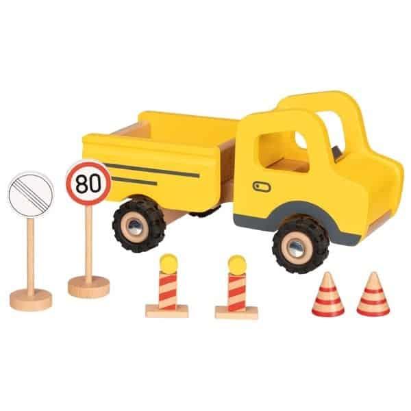 Baustellenfahrzeug mit Verkehrsschildern