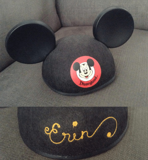 "Never-worn Mickey Mouse ears, embroidered with ""Erin"""