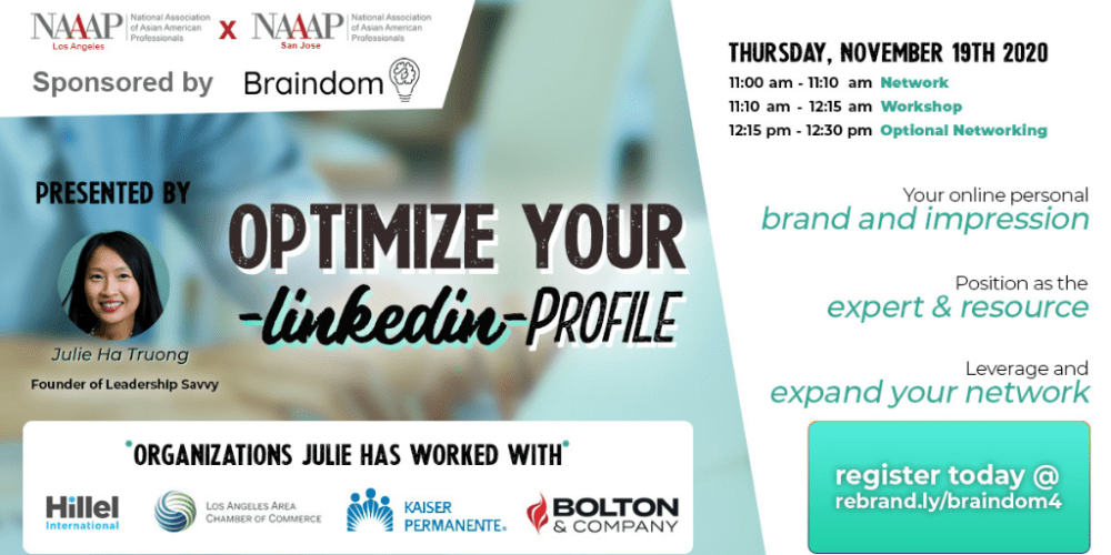 Nov 19 - Optimize your linkedIn profile flyer