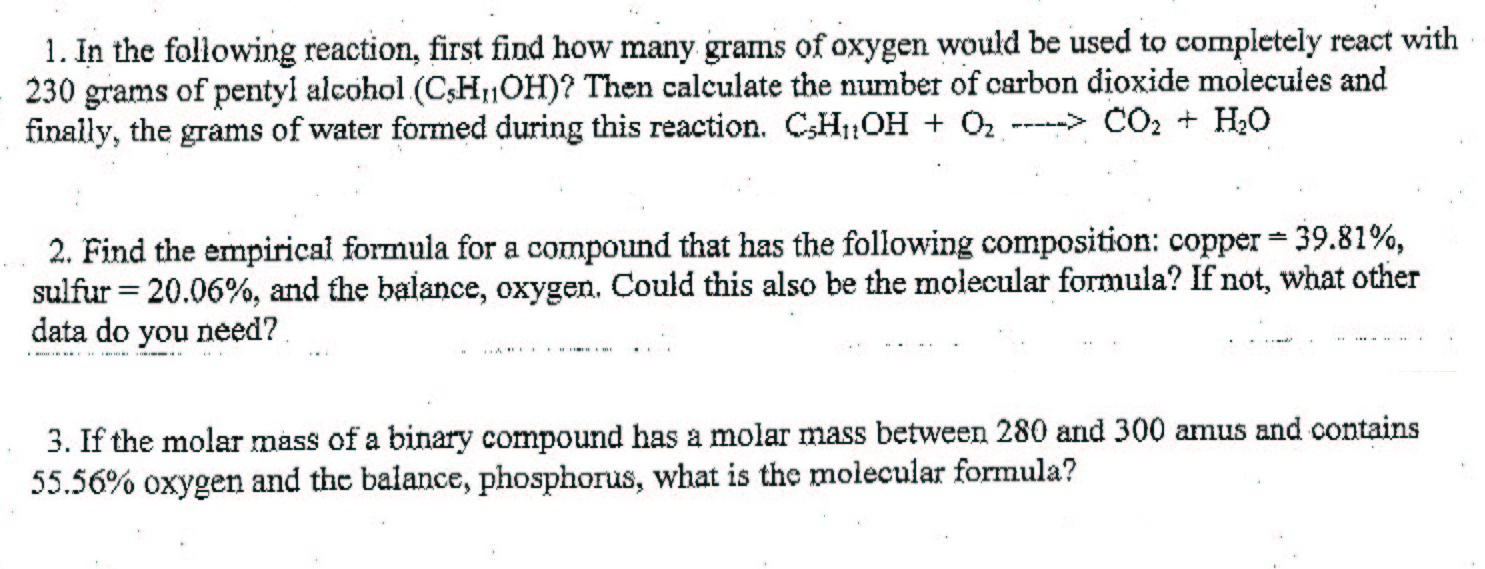 Find how many grams of oxygen