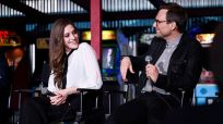 MR. ROBOT -- Hacked by DefCon and Mr. Robot at Tribeca Film Festival -- Pictured: (l-r) Carly Chaikin, Christian Slater -- (Photo by: Dave Kotinsky/USA Network)