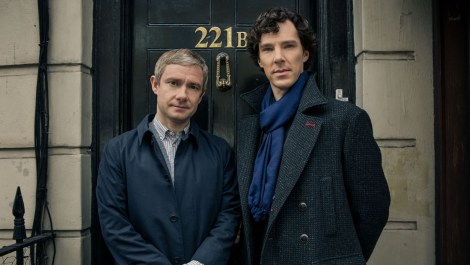 Sherlock Season 3 Sundays January 19 - February 2, 2014 10pm ET on MASTERPIECE on PBS Sherlock Holmes stalks again in a third season of the hit modern version of the Arthur Conan Doyle classic, starring Benedict Cumberbatch (War Horse) as the go-to consulting detective in 21st-century London and Martin Freeman (The Hobbit)as his loyal friend, Dr. John Watson. Shown from left to right: Martin Freeman as Dr. John Watson and Benedict Cumberbatch as Sherlock Holmes (C)Robert Viglasky/Hartswood Films for MASTERPIECE This image may be used only in the direct promotion of MASTERPIECE. No other rights are granted. All rights are reserved. Editorial use only.