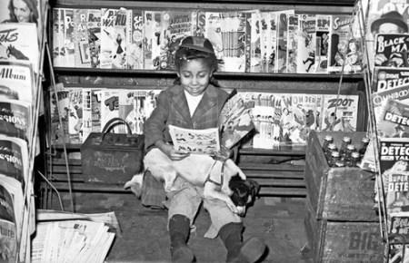 girl reading comic books