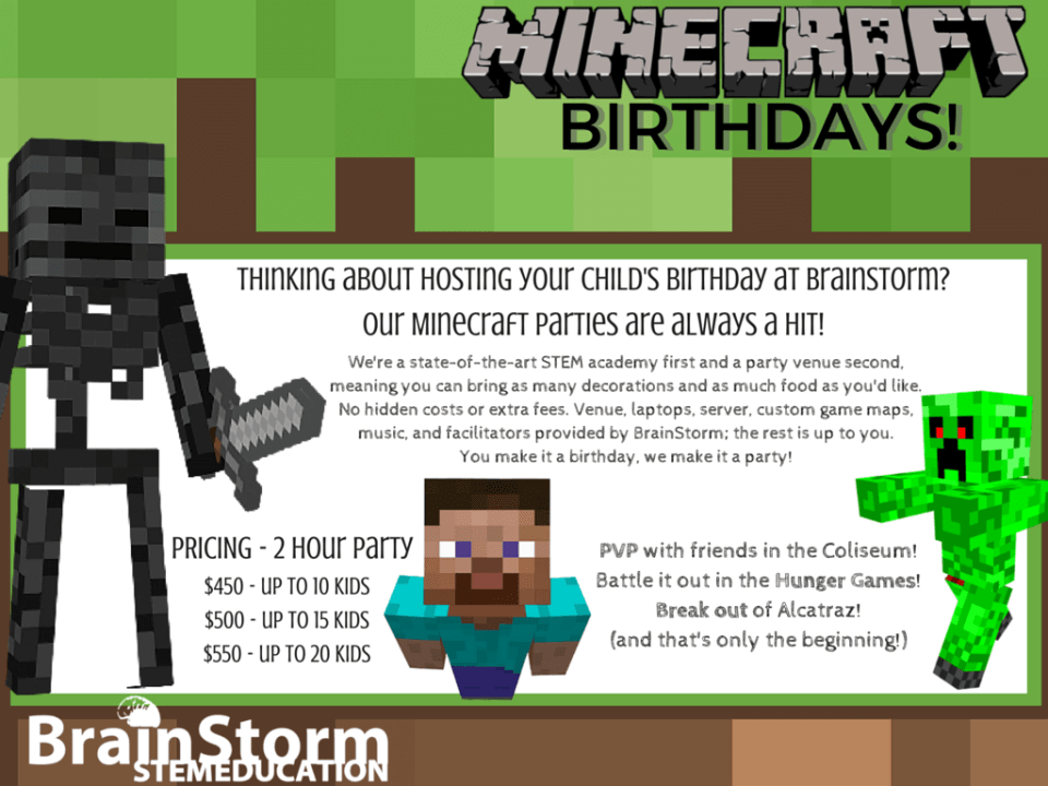 Minecraft Birthdays Flyer