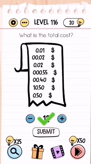 Brain Test Level 116 : brain, level, Brain, Level, Total, Cost?, Walkthrough, BrainTestWalkthrough.com