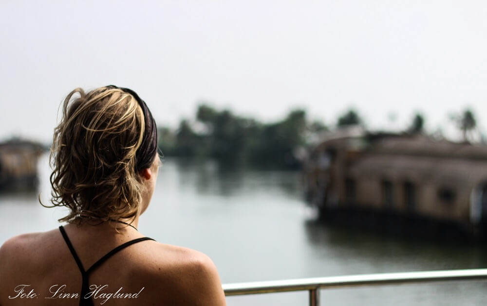 Enjoying the view from our houseboat in Alleppey, India