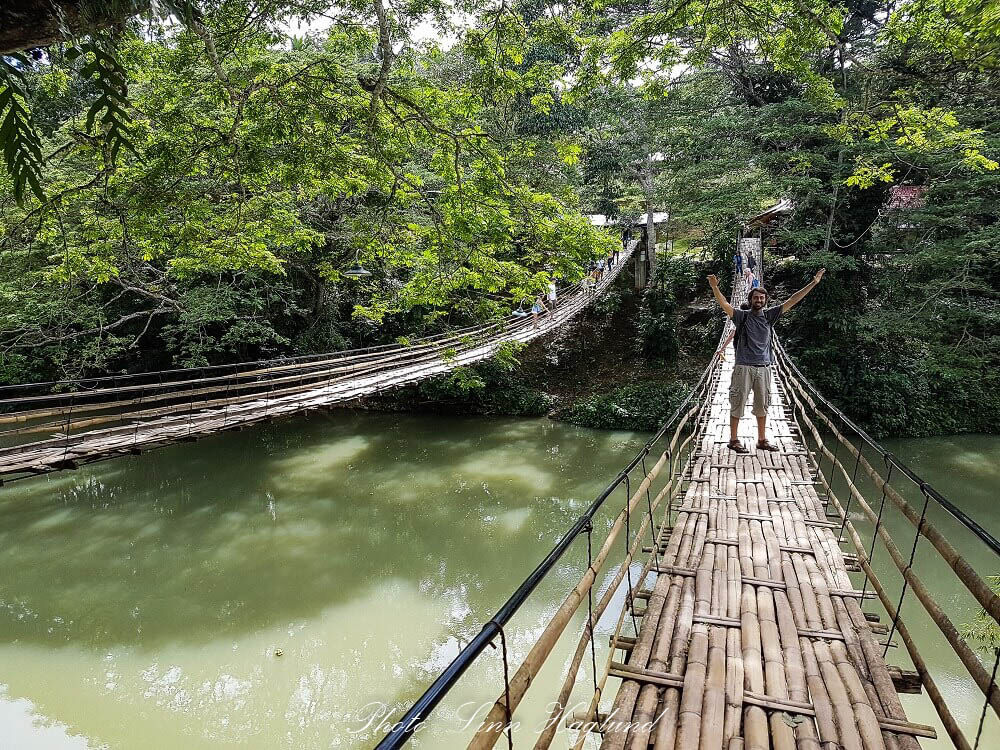 Hanging bamboo bridge in Bohol, Philippines