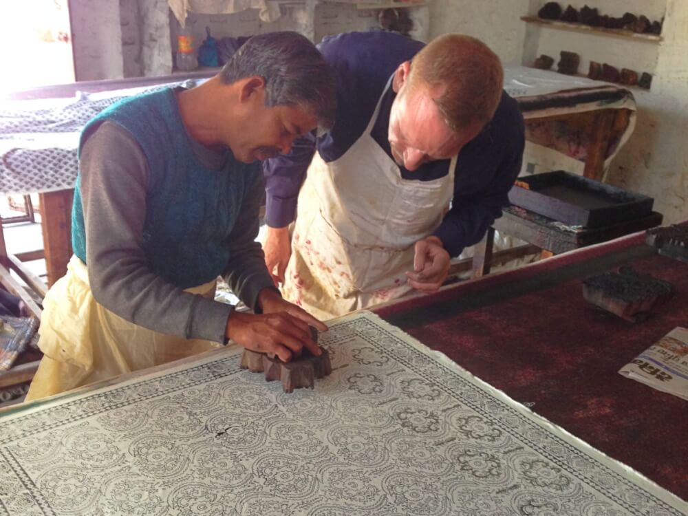 James is block printing in India
