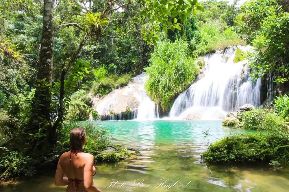 The top natural pool at El Nicho in Cuba