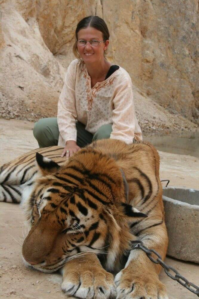 Tiger selfie in the Tiger Temple in Thailand. This is a place you should avoid visiting.