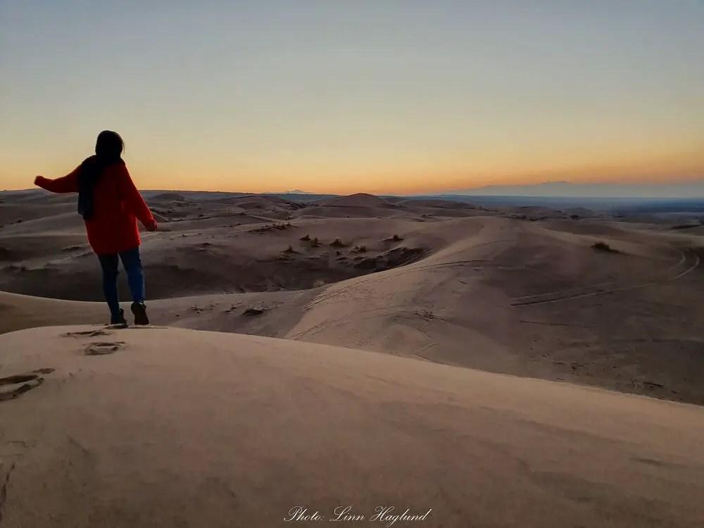 Maranjab desert at sunset