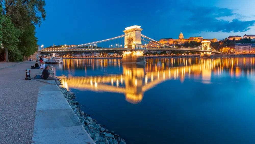 Budapest Chain Bridge by night - Photo by Adam Marot Behind Budapest