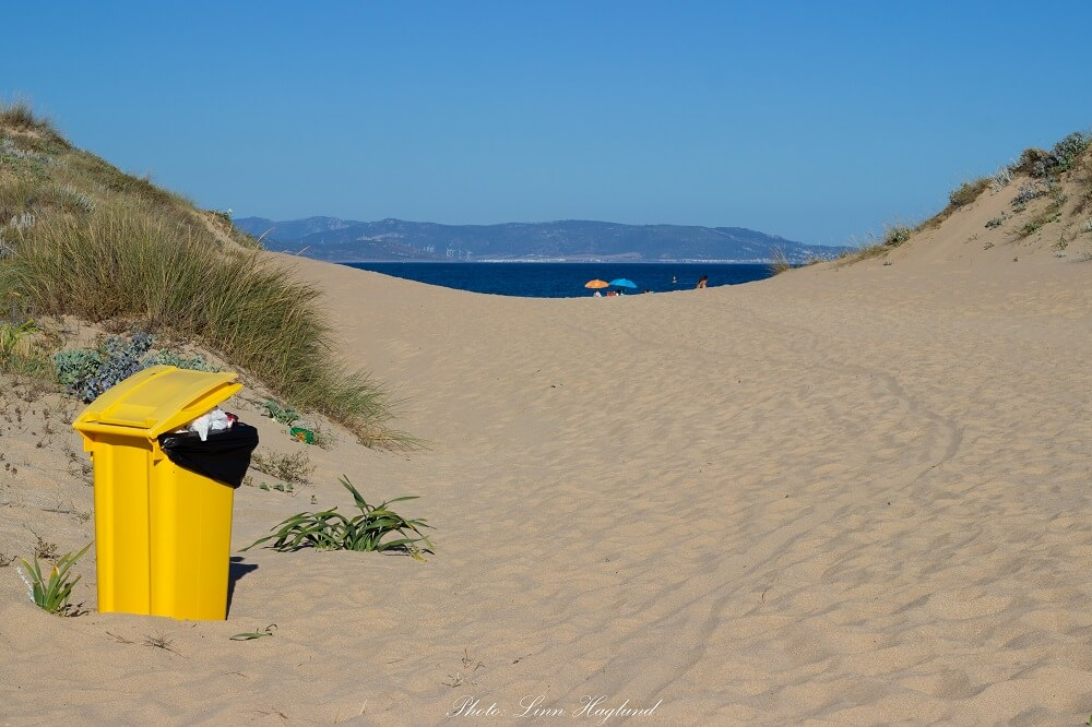 Be mindful and don't overfill the rubbish bins - Los Caños de Meca Spain