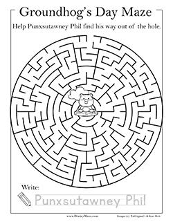 Groundhogs Day Mazes Amp Worksheets Brainy Maze