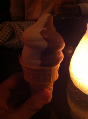 Complimentary House-Made Soft Serve Vanilla and Joe Beef Garden Grown Mint Chocolate Ice Cream